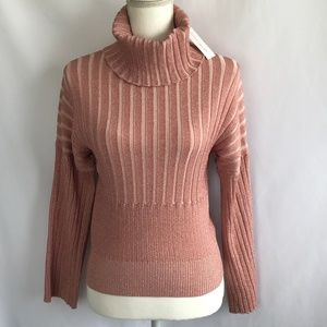 New York & Co Metallic Pink Turtle Neck Top.NWT